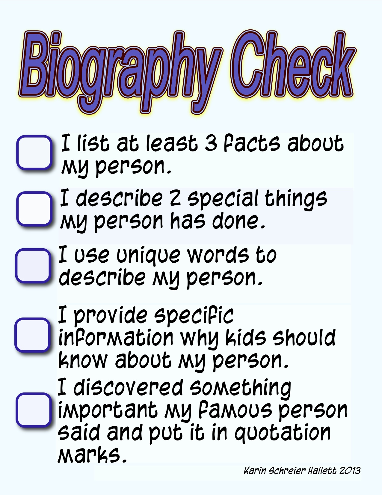 biography writing for kids