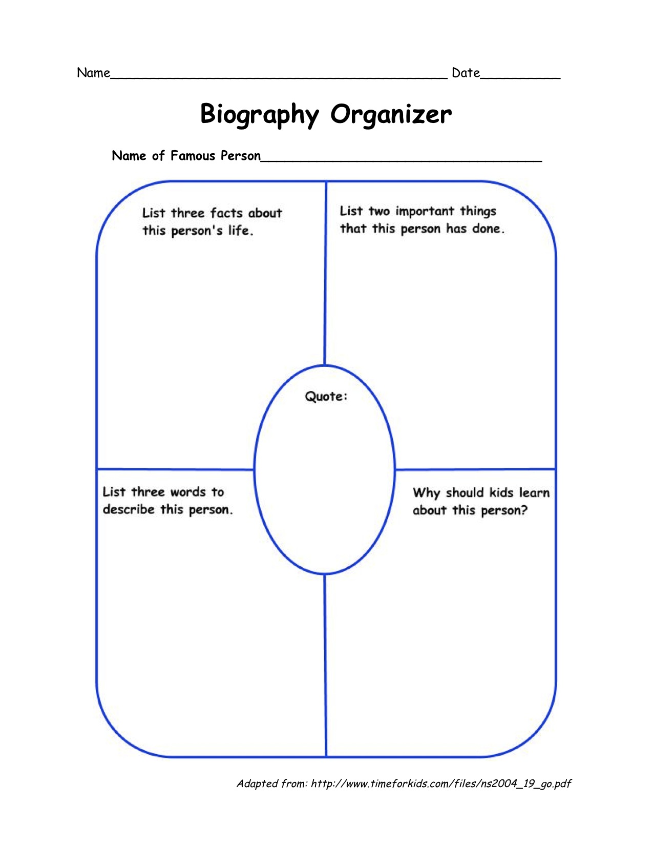 Graphic organizers for biography book reports