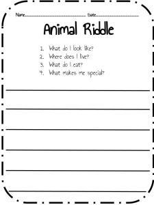 creating animal riddles liquid literacy. Black Bedroom Furniture Sets. Home Design Ideas